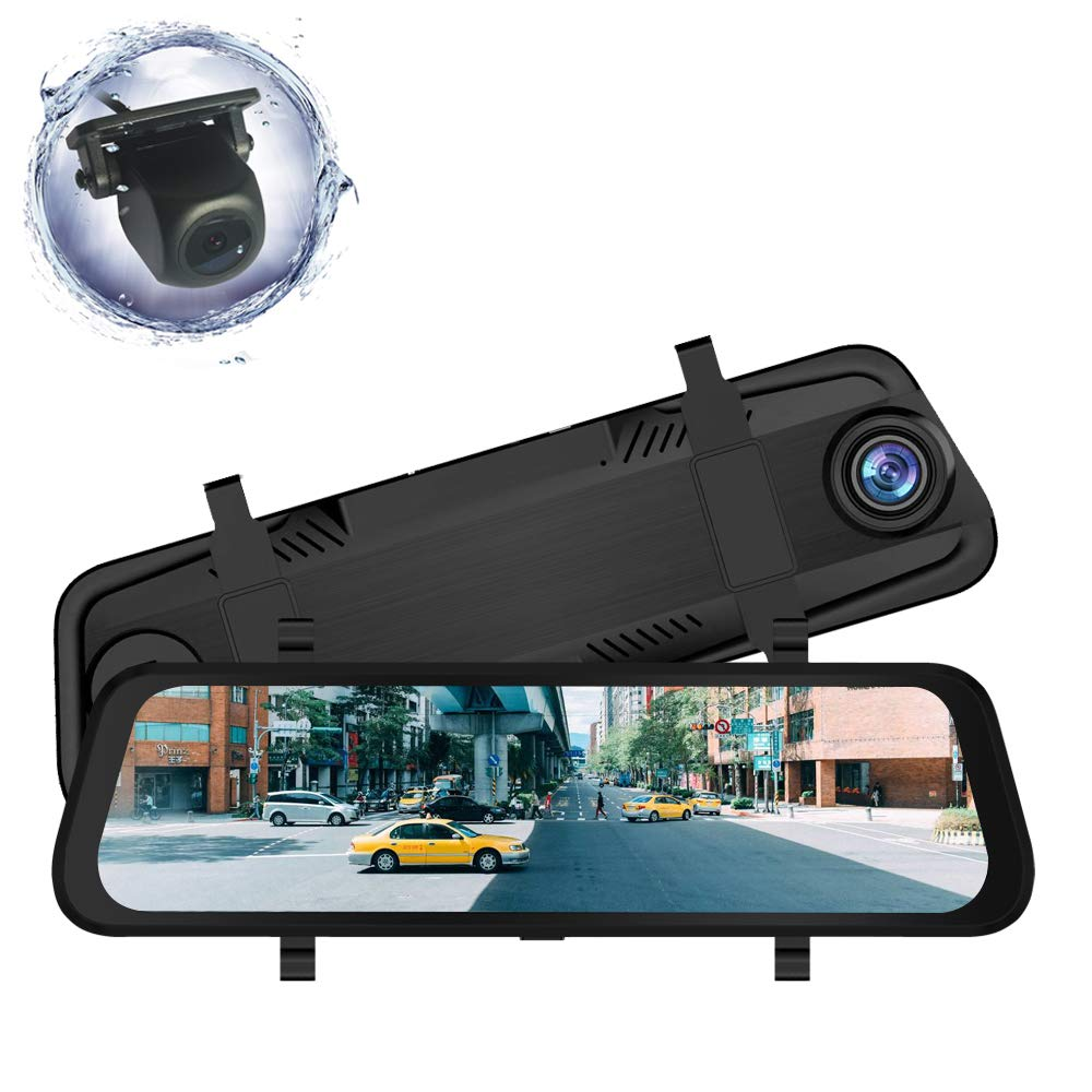 ZENAN 9.66 inch Mirror Dash Cam Full Touch Screen, Stream Media Dual Lens Full HD Reverse Camera,1080P Front Rear View Camera, Wide Angle Backup Camera, G-Sensor and 24-Houring Parking Monitor