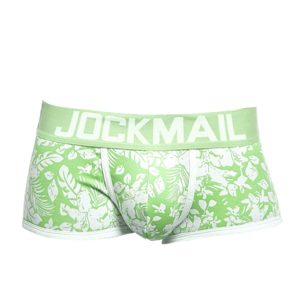 Men's Breathable Microfiber Trunk Underwear Covered Band Multipack,Fancy Print,MmNote Green