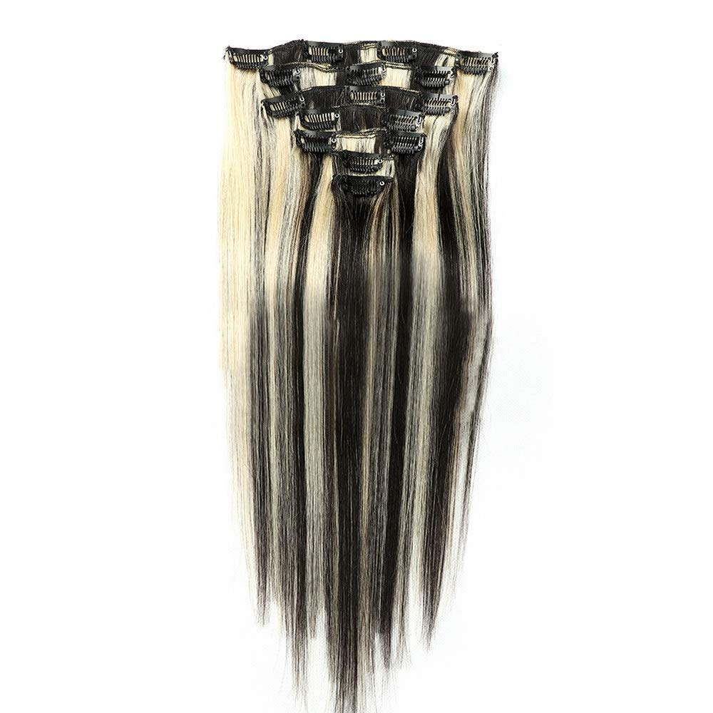 Kathleen Chance 22inch Human Hair Wigs 7pcs Clip In Hair Extension - #1B/613 Black To Blonde Color 100g (Color : #1B/613)