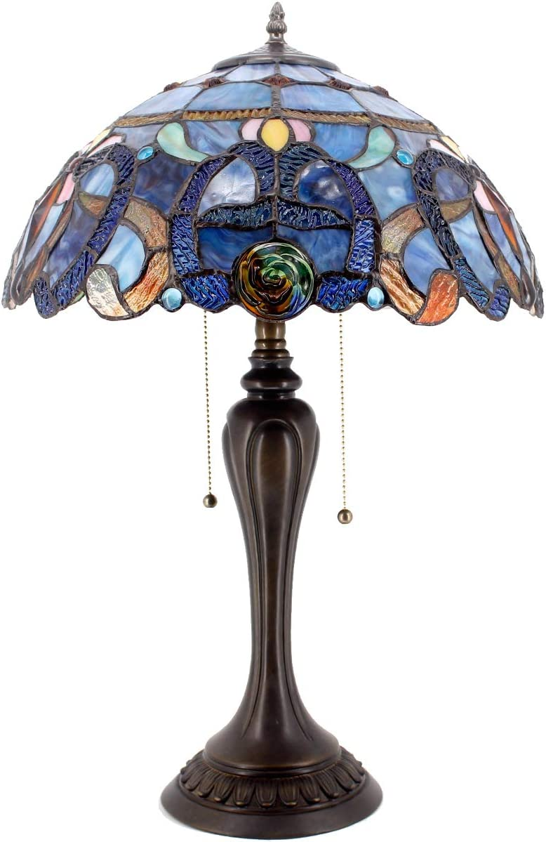 Tiffany Lamps Stained Glass Style Table Lamp W16 H24 Inch Wide Blue Purple Cloudly Crystal Flower Shade 2 Light Pull Chain Decorate Living Room Bedroom Coffee Desk Beside Dresser S558 WERFACTORY