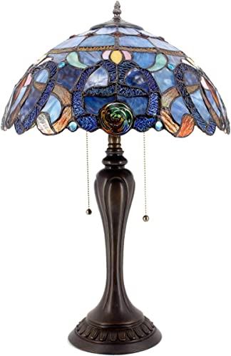 Tiffany Lamp Stained Glass Style Bedside Table Lamp W16H24 Inch Blue Purple Cloud Crystal Flower Shade S558 WERFACTORY Lamps Lover Parent Living Room Bedroom Coffee Bar Desk Reading Art Craft Gift
