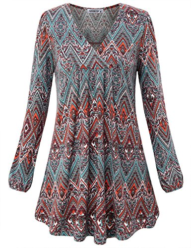 MOQIVGI Ethnic Print Shirt, Woman Long Sleeve Fall Tops Jersey Vneck Knitting Modern Blouse Business Casual Attire Tunic for Work Red X-Large