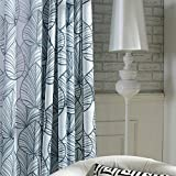 Anady Top Navy Leaf Sheer Valance Curtains 2 Panel Navy Leaf Voile Sheer Drapes Grommet 100 inch Long(Customized Available)