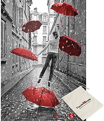 Puzzle Korea Chica con Paraguas Rojos Volando Sobre la Tierra ...