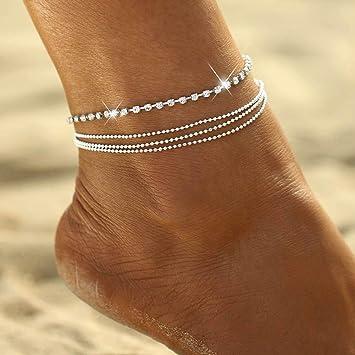 Cha/îne cheville en cristal de cheville en argent bracelet cheville en argent Yean pour les femmes et les filles