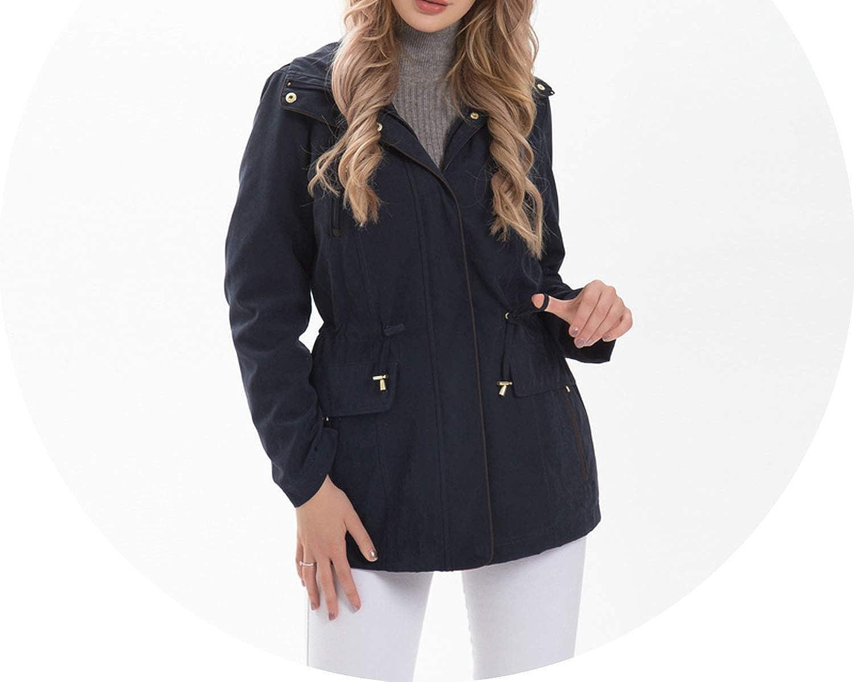 Navy Ladies Jackets Women Winter Coats Adjustable Waist Removable Hood Plus Size Outerwear