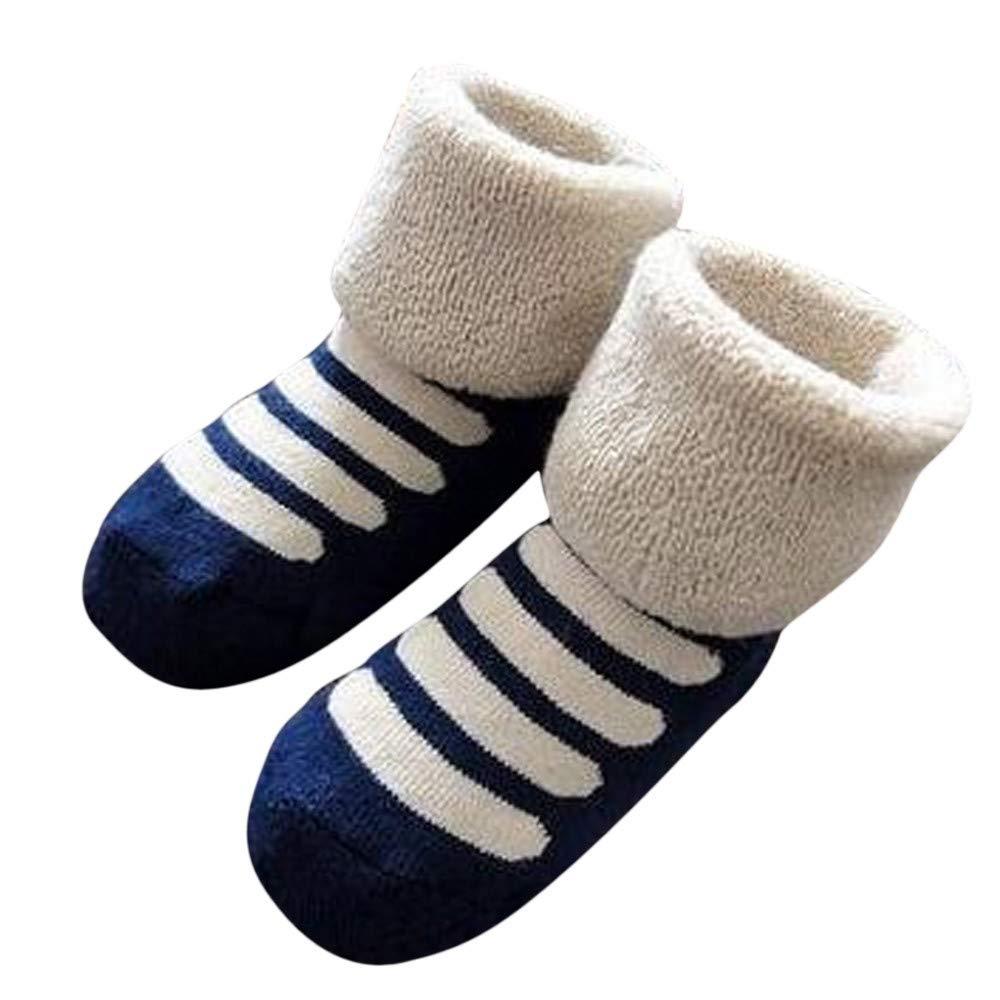Zerototens Baby Floor Socks, Kids Infant Toddler Baby Boys Girls Cartoon Animals Print Anti-Slip Knitted Boots Socks Winter Thermal Fleece Socks 1-3 Years Old