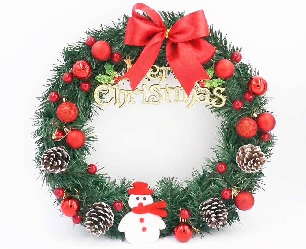 ZXPAG Summer Wreaths for Front Door Christmas Large Wreath Door Artificial Wreath Christmas Decoration Door Hanging Window Prop Background Christmas Tree Accessories Home Decoration,Red,35cm