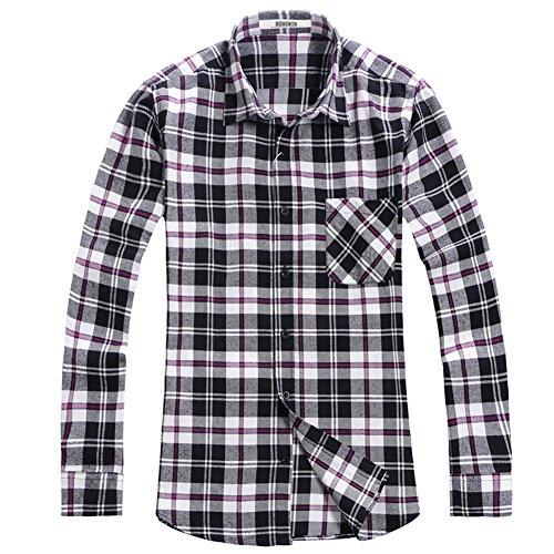 Check Plaid Flannel Black White (OCHENTA Men's Button Down Long Sleeve Plaid Flannel Shirt N019 Black White Asian 6XL - US 2XL)