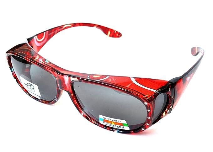 39fb14a827b0 Polarized Rhinestone Sunglasses Large Fit Over Oval Rectangular -Deep Red