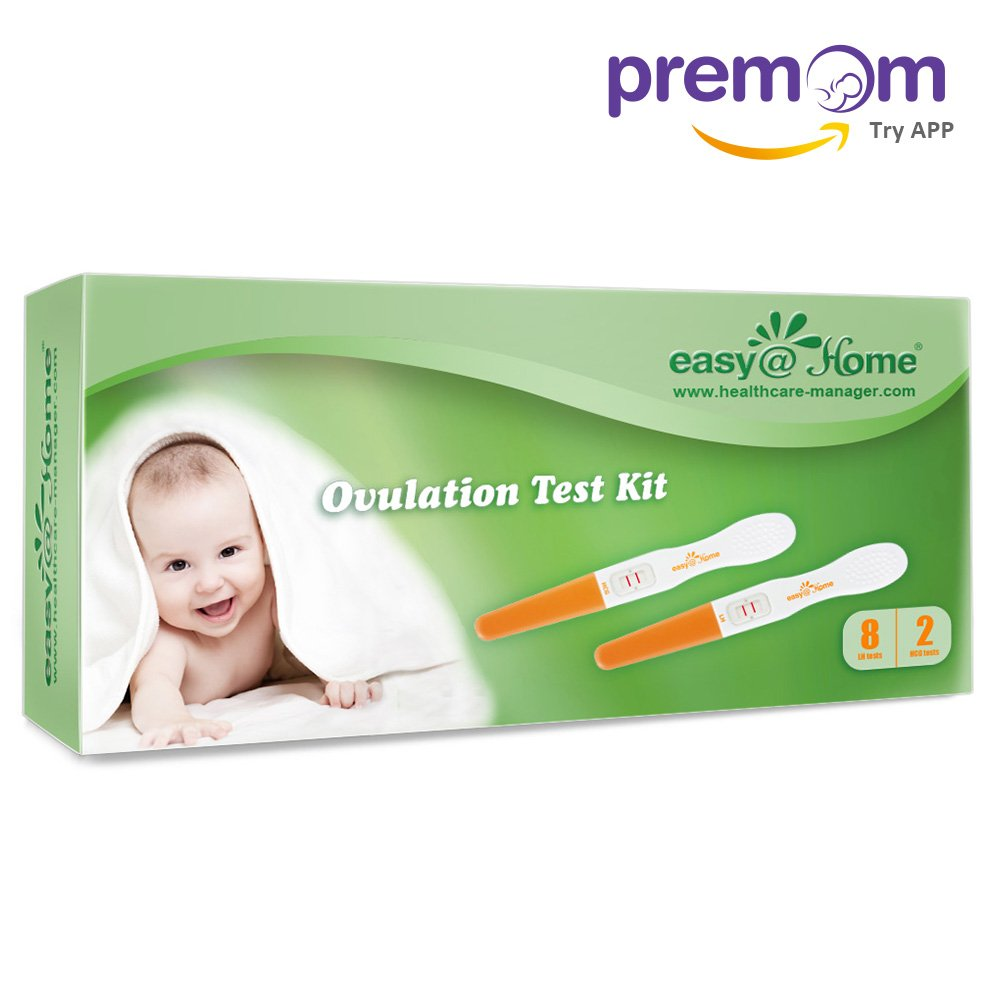 Easy@Home 8 Ovulation Test and 2 Pregnancy Test Sticks - Midstream Tests - Reliable Ovulation Predictor Kit And Fertility Test, Powered by Premom Ovulation Predictor App, Free iOS and Android App