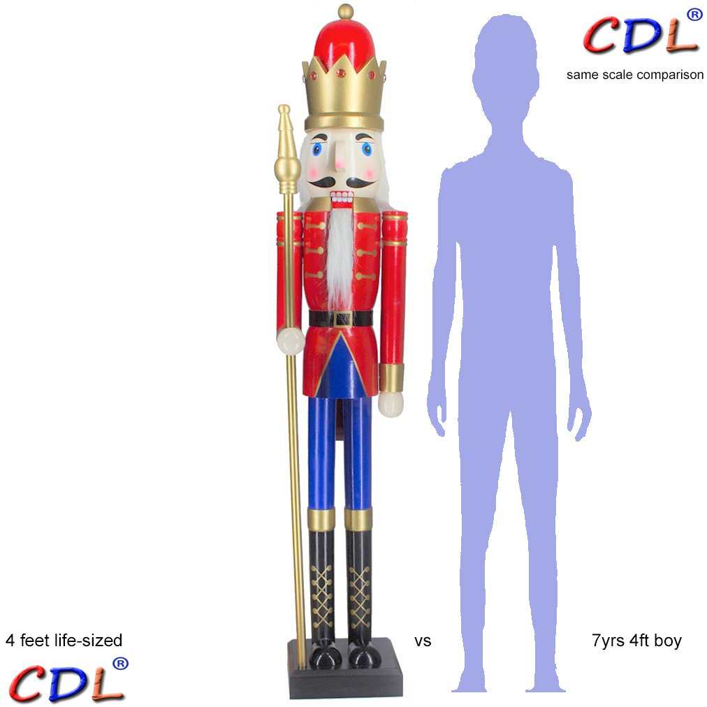 CDL 48'' 4ft tall life-size large/giant red/blue Christmas wooden nutcracker soldier ornament on stand hold scepter Xmas/event/ceremonies/commercial indoor outdoor decoration K08