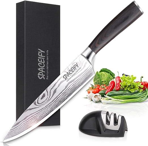 Cuchillo de chef SPACEIFY 8 pulgadas Cuchillo de cocina con ...