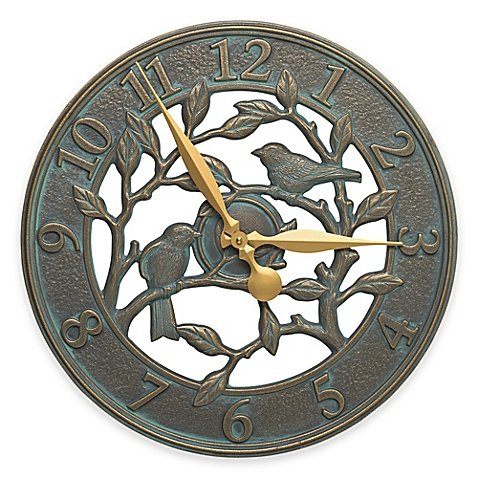 Whitehall Products Woodridge 16-Inch Indoor/Outdoor Wall Clock in Bronze Verdigris