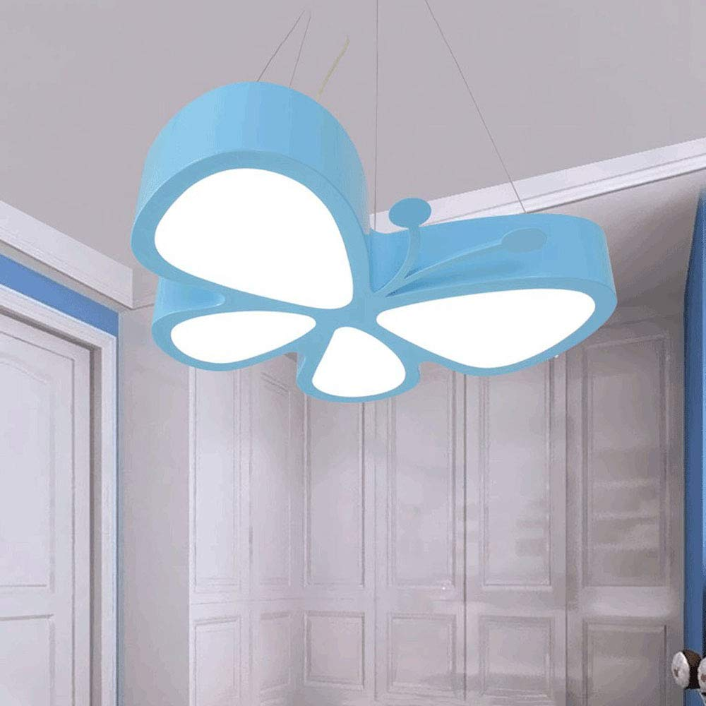 Unbekannt Moderne einfache LED Schmetterlings-Hängeleuchten, Acryl-Lampenschirm, Creative Personality Kinderzimmer Kindergarten Spielfeld Beleuchtung Chandelier,Blue