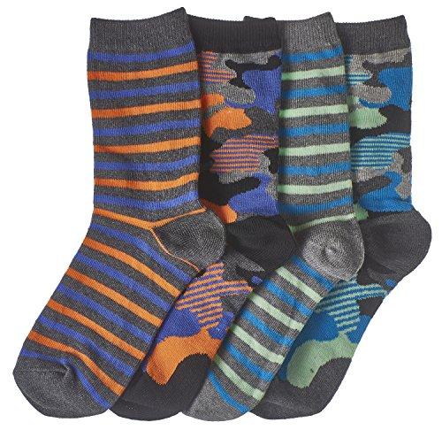 Trimfit Boys Camo & Mini Stripes Crew Socks 4-Pack, L (9-11)