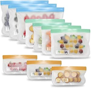Reusable Storage Bag, TBTeek 10 Pack BPA FREE Leakproof Easy Eco-friendly Seal Food Preservation Bags for Snacks and Fruits, Food Marinate Meat Cereal