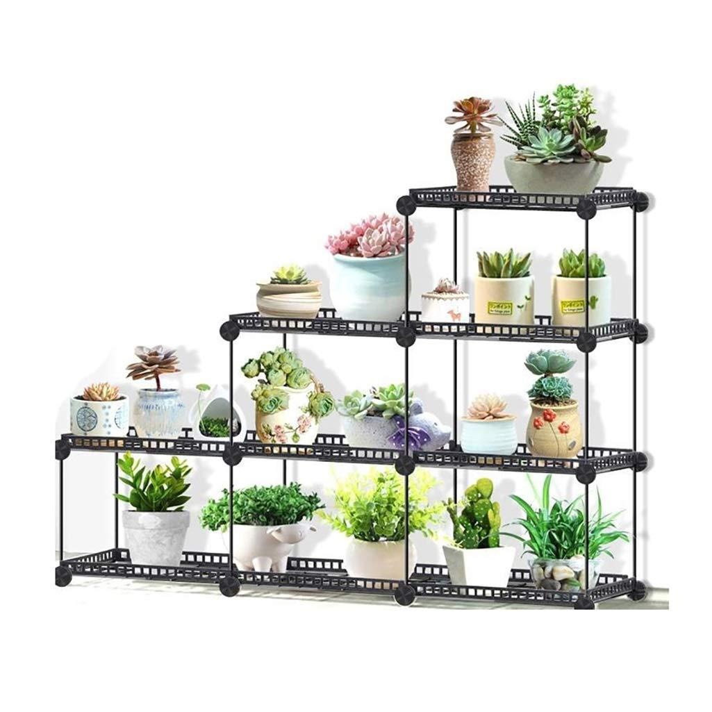 Plant Stands Wall Planters Planter Rack Flower Pot Rack Plant Pot Shelf Plant Theatre (Color : Black) by SXRHJ
