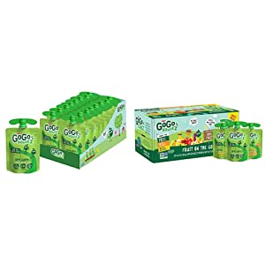 GoGo squeeZ Applesauce, Apple Apple, 3.2 Ounce (18 Pouches) & Applesauce, Variety Pack (Apple/Banana/Mango), 3.2 Ounce (20 Pouches), Gluten Free, Vegan Friendly, Unsweetened Applesauce