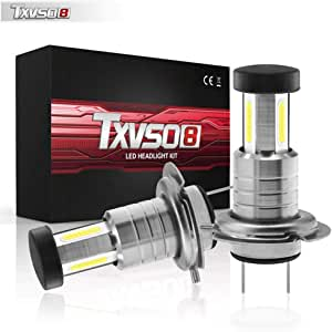 Upgraded LED Headlight Bulbs Txvso8 H7 M7 2 Pack Super Bright led Headlamp Conversion Kit//Adjustable High Low Beam Fog Lights 55W 13000LM 6000K Cool White Life-Warranty