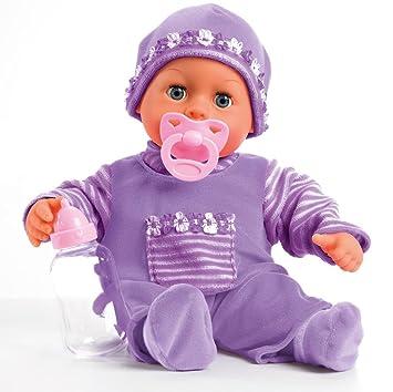 Bayer Design- Muñeca bebé 38 cm, Las Primeras Palabras, con Chupete y botellín, Color Lila (93800-lila)