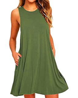 6e825848ed8 Naliha Women s Casual Scoop Neck Sleeveless Solid Tunic Shift Swing Summer  Midi Dress