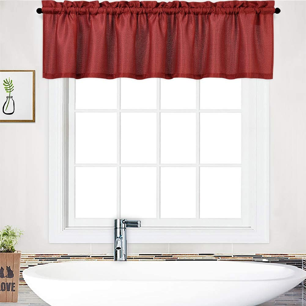 """NANAN Curtain Valance,Waffle Weave Waterproof Window Valance for Bathroom,Rod Pocket Tailored Kitchen Valance Curtain Cafe Curtains - 60"""" x 15"""", Burgundy, One Panel"""
