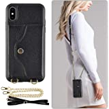 "iphone XS Wallet Case, LAMEEKU iphone X Case with Credit Card Holder Slot Leather Case, shockproof Protective Back Cover with Crossbody Chain Strap &Wrist Strap for Apple iPhone X/iPhone XS 5.8"" Black"