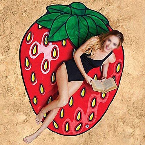 best Adela Boutique Beach Towel Blanket Cute Funny Fruits Beach Towel Mat Sunscreen Shawl (Strawberry)