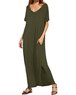Kidsform Women Maxi Dress Side Split Casual Loose Pockets Sundress Short Sleeve Summer Beach T-
