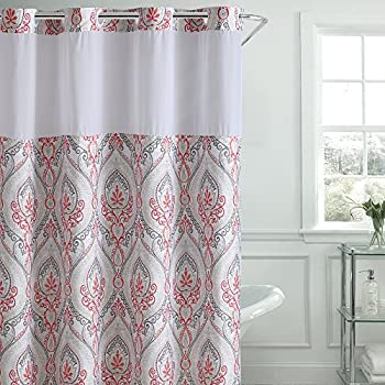 Amazon.com: Hookless French Damask Print Shower Curtain with PEVA ...