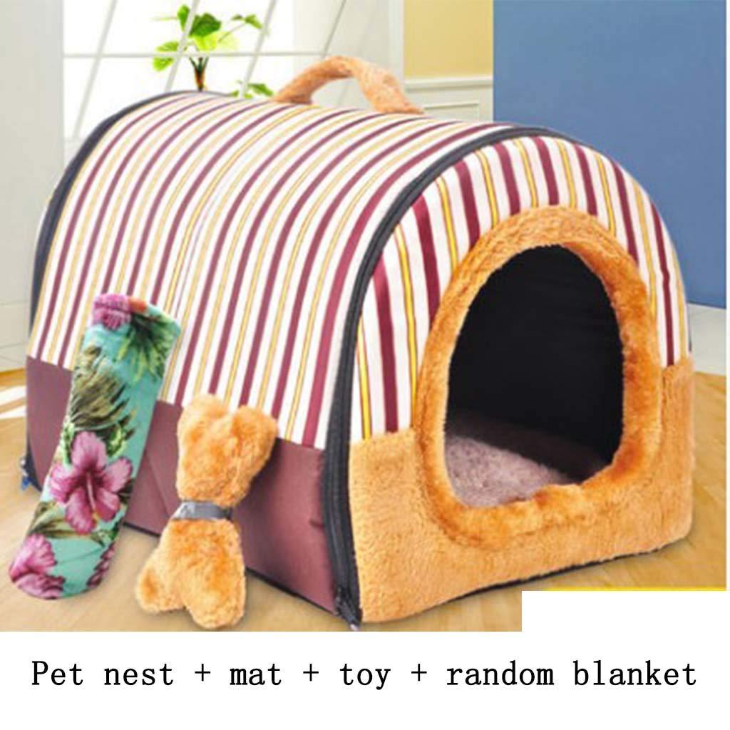 Brown Large Brown Large MiaoMiao Pet nest detachable small pet house autumn and winter warm pet bed large 60  48  43CM pet less than 10 kg (color   BROWN, Size   L)