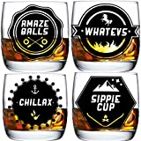 Whiskey Glasses, Gift Set of 4, 10oz Tumbler Review and Comparison