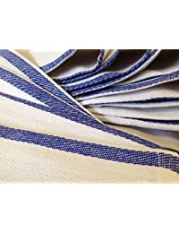 Win 1 Dozen 100% Cotton Blue Stripe Herringbone Kitchen Dish Towels Lint Free compare