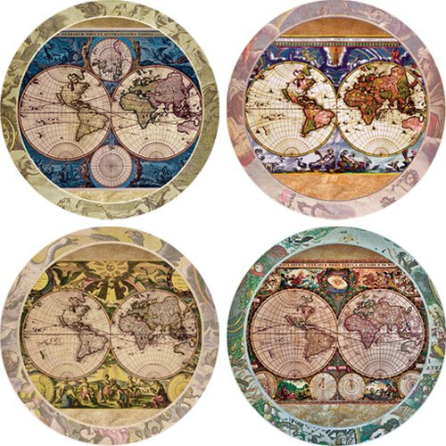 bsorbent Stone Coasters, Old World Maps, Multicolored ()