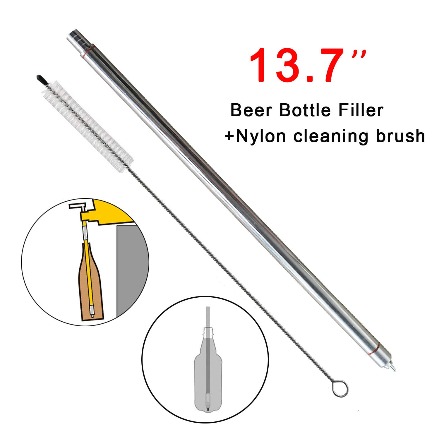 13.7'' length Food Grade Stainless Steel Spring Loaded Beer Bottle Filler with 13.7'' Nylon Cleaning brush Home Brewing