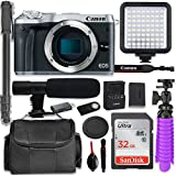 Canon EOS M6 Mirrorless Digital Camera (Silver - Body Only) + Professional Video Kit with 32GB Memory, Monopod, Spider Tripod, Gadget Bag & More.