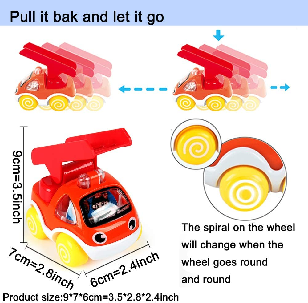 Pull Back /& Go Car Toy Play Set Gift for Kids Boys Girls Pull Back Cars 6 Pack Toy Cars for Toddlers,Toys for 1 2 3 4 5 Year Old Boys