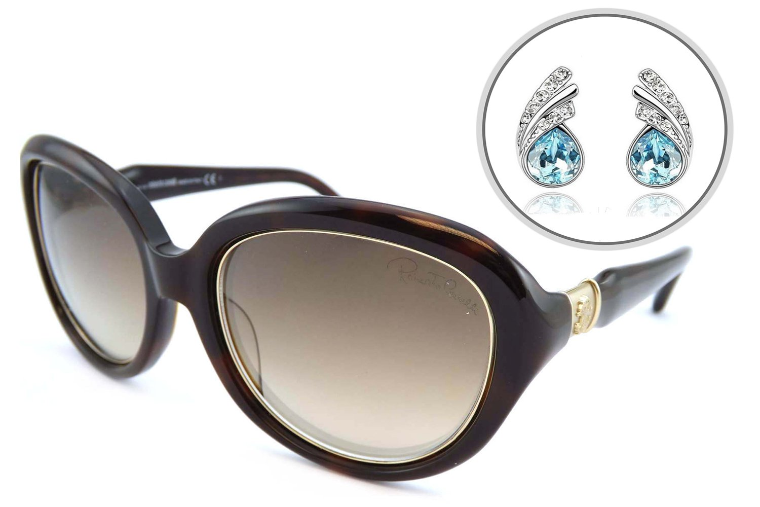 Roberto Cavalli AUTHENTIC Oval Womens Sunglasses with Free Silver Plated  Earrings - Scratch Resistant Mirrored Lens, Full Rim - 100% UV Protection  56mm ... bf369ef8d9
