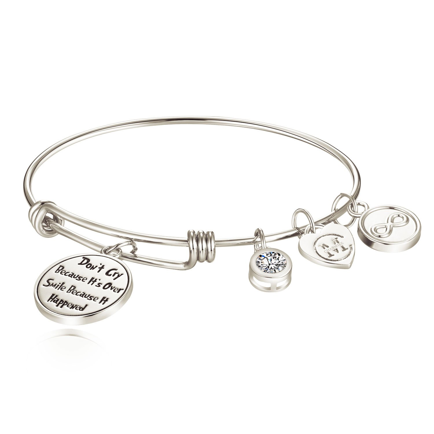 Inspirational Charm Engraved Bangle Bracelet for Women Girl Graduate Student Daughter Granddaughter Friend Charmire CMB012RG