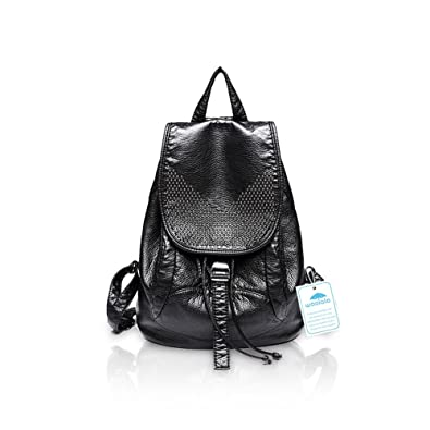 e1c0d5ef1a81 Yoome Leather Women Girls Ladies Backpack Travel School Bag Casual Daypack  Rivet and Woven Purse Black Rivet  Amazon.co.uk  Shoes   Bags