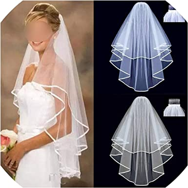 White Ivory Two Layers Bridal Veils Ribbon Edge Wedding Simple Two Layers Short Women Veils With Comb,Beige