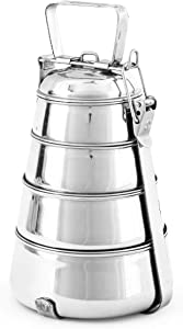WhopperIndia Stainless Steel Food Grade Lunch Box Traditional Tiffin Box for School And Office - 4 Tier
