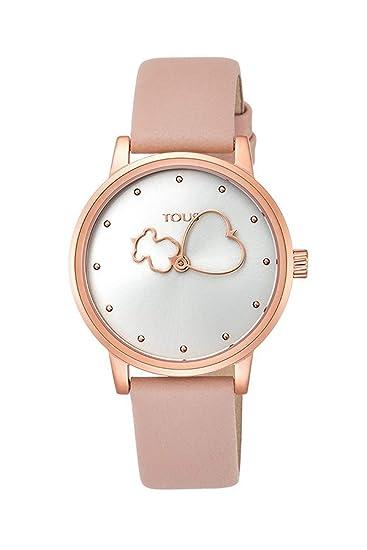 Reloj Tous Bear Time de acero IP rosado con correa de piel nude Ref:800350925: Amazon.es: Relojes