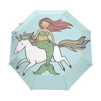 Bonito paraguas automático de sirena para niña, con diseño de unicornio arcoíris divertido, resistente