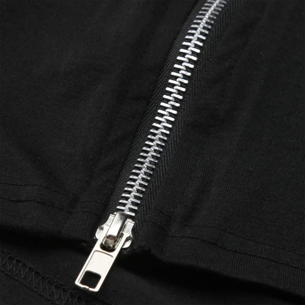 Topgee Mens Casual Soft Cotton Short Sleeve T-Shirts Side Zipper Crew Neck Shirt
