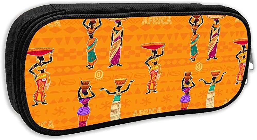 Bolso Bolso Bolso Étnico Mujeres Africanas Patrón Naranja Estuche Para Lápices Estuche Estacionario Maquillaje Bolsa De Cosméticos