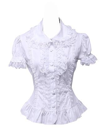 an*tai*na* Blanca Algodón Encaje Volantes Manga de Soplo Vintage Victoriana Lolita Camisa Blusa de Mujer: Amazon.es: Ropa y accesorios