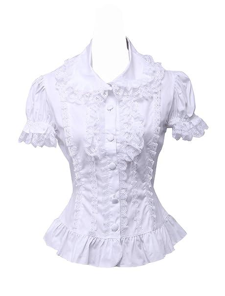 d061ca78418 an*tai*na* Blanca Algodón Encaje Volantes Manga de Soplo Vintage Victoriana  Lolita Camisa Blusa de Mujer: Amazon.es: Ropa y accesorios