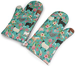 Farm Animals Cow Sheep Goat Chick Kitchen Oven Mitts, Cotton Long Microwave Oven Gloves, Extreme Heat Resistant 572 Degrees Nonslip Gloves for Potholders Cooking, BBQ, Frying, Baking (1 Pair)
